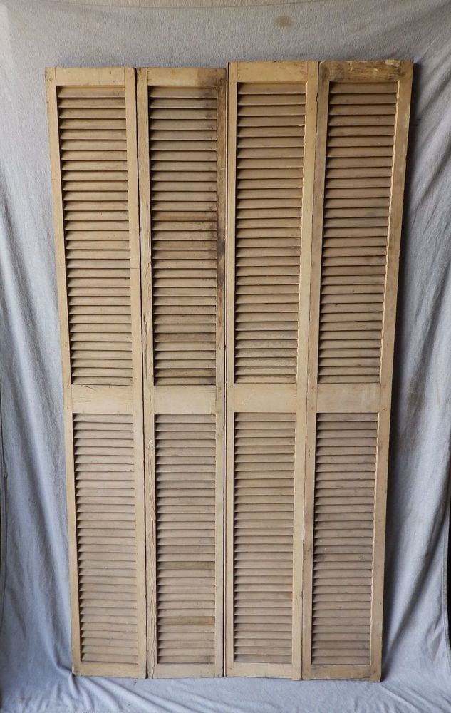 Very Nice Antique Wood Bifold Shutters They Could Be Used On A House Or Shed Or As A Screen Or Room Divider How To Antique Wood Antique Windows Wood Shutters