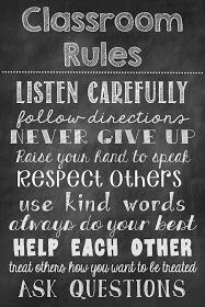 Ms. Third Grade: Classroom Rules Chalkboard Poster Freebie