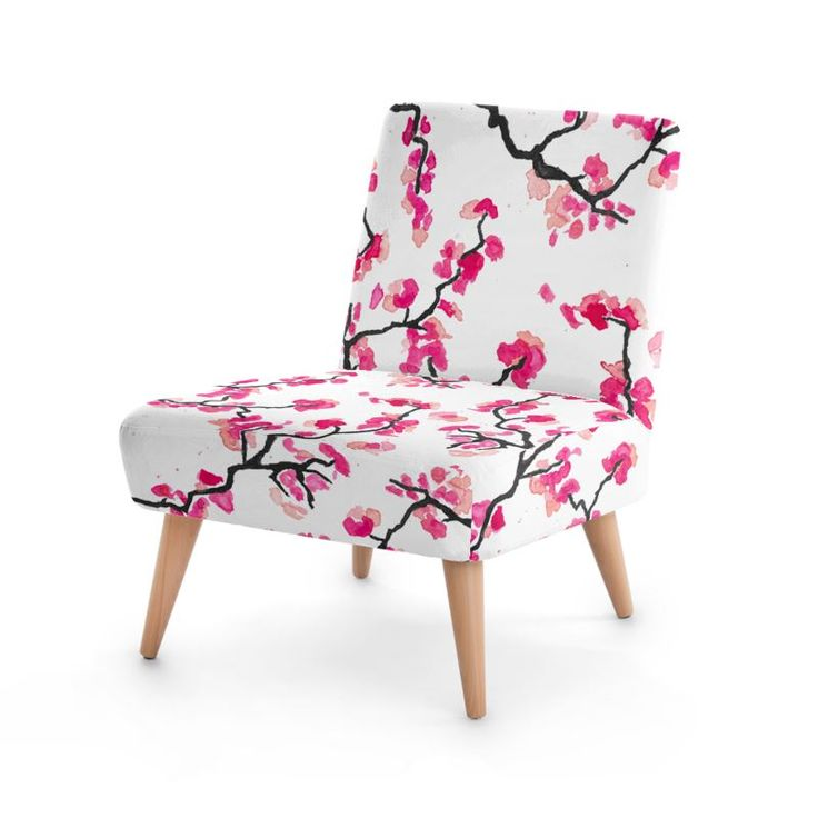 Japanese Cherry Blossoms Occasional Chair . Pink watercolor design. #decor #chair #pink #cherry #cherryblossoms #uk #britain #designer