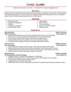 data entry clerk resume sample data entry clerkperfect resumeresume examples