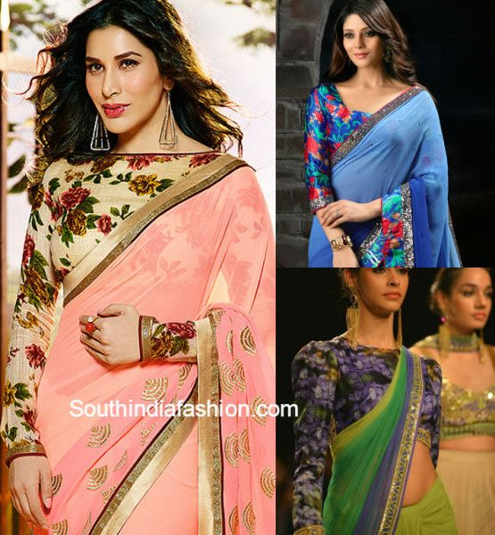 chiffon_sarees_with_floral_blouses