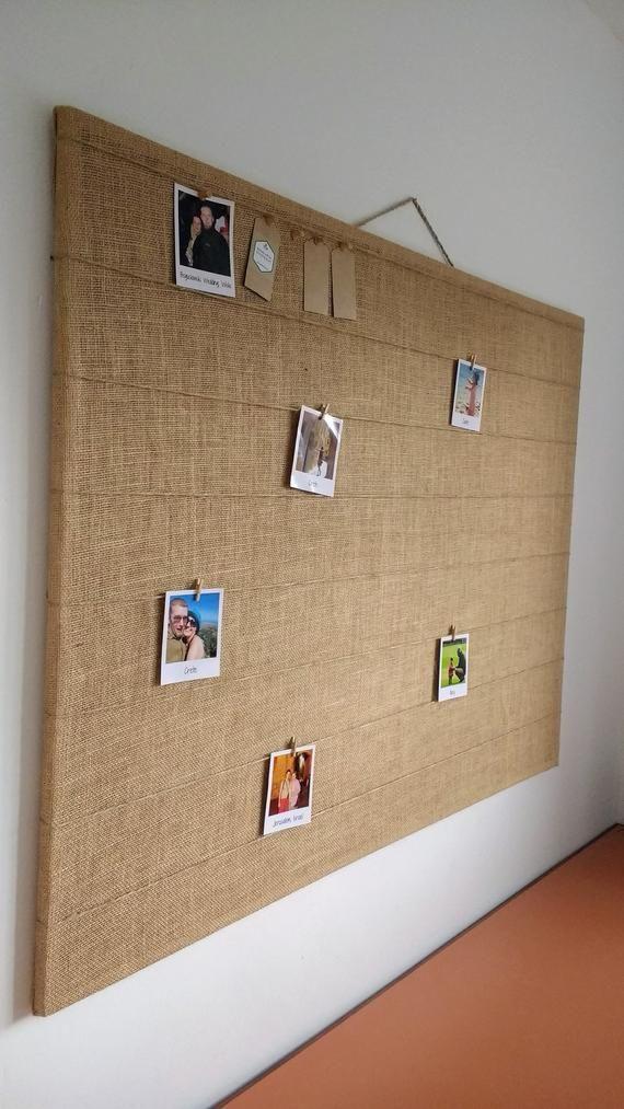 Large Photo Or Message Peg Push Pin Hessian Bulletin Board Pin Notice Board Fabric Vision Board Polaroid Display Diy Bulletin Board Hessian Large cork boards for walls