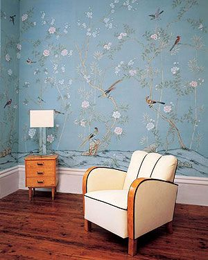 Seidentapeten Seidenwandbild 01 Blüten und Vögel auf blauer Seide aus 100 % Seide