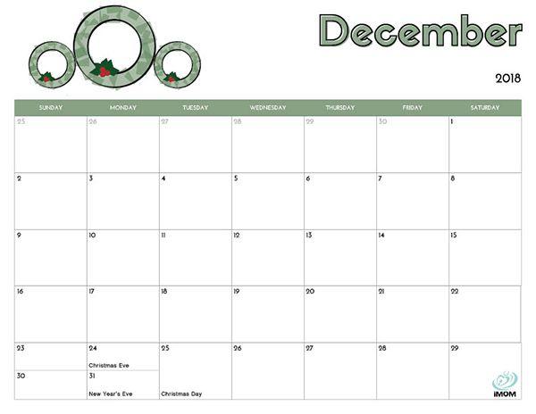 December 2018 Printable Calendar Kids Calendar 2018 Printable
