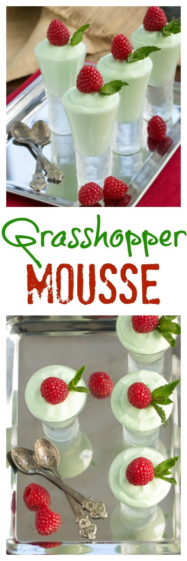 Grasshopper Mousse | Dreamy mint mousse that's perfect for St. Patrick's Day or ANY day! @lizzydo
