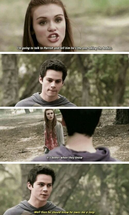 #TeenWolf5x09 - Stydia In this you can totally tell he's upset that she is going to talk to Parrish but doesn't want to have to tell her but then does.
