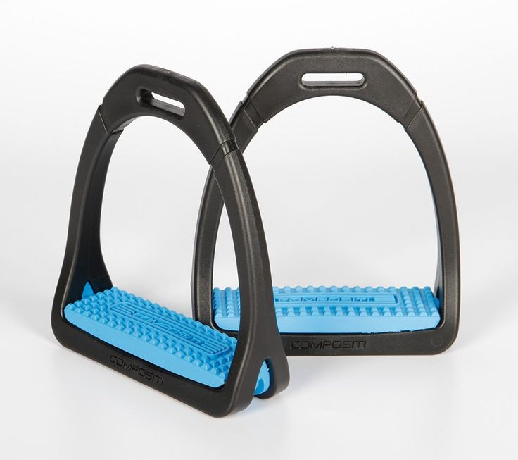 Compositi Premium Stirrups Light Blue Wide foot bed on this stirrup help to aide the rider in stabilizing the lower leg. The innovative materials used to produce this stirrup make it even more effecti