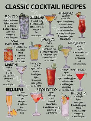 Details about Classic Cocktail Recipes Retro Tin Signs Metal Plate Pub Bar Wall Decor Hainging