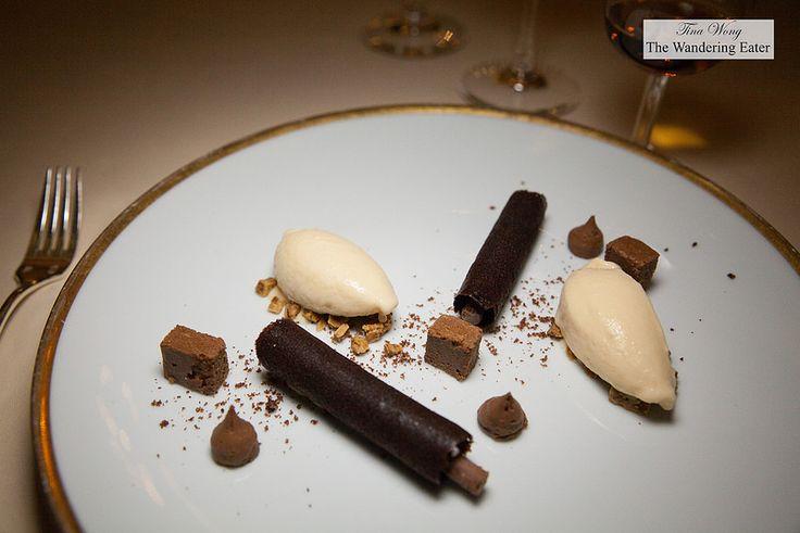 Dark chocolate croustillant, cremeux of salted caramel, tonka beans ice cream - Tina Wong