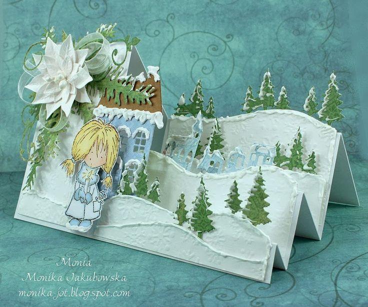 Объемная открытка с елками домиками, раскрывающаяся открытка