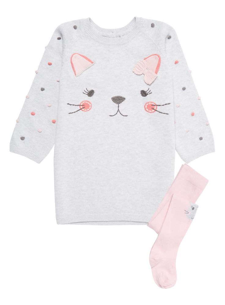 Baby Girls Grey Cat Knitted Dress (0-24 months) | Tu clothing