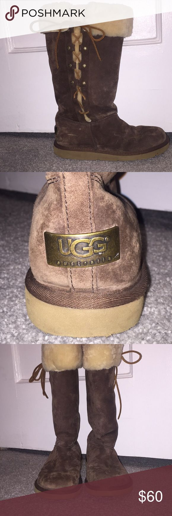Barely worn Ugg lace up boots ***price drop*** Perfect condition, barely worn, chocolate lace up Uggs!  Offers welcome!!! UGG Shoes Winter & Rain Boots