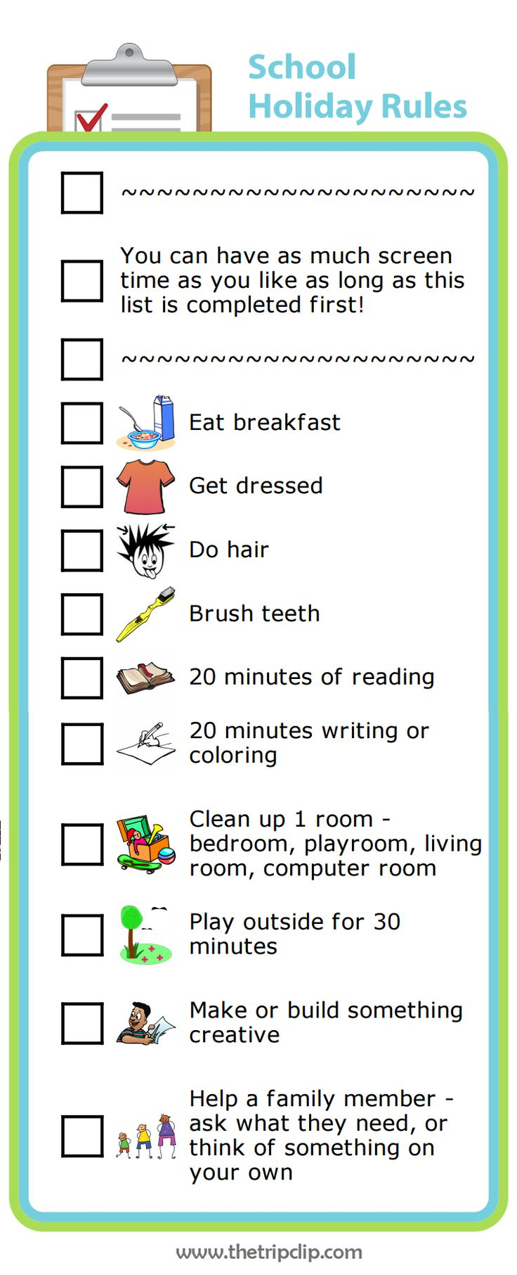 checklists for vacation