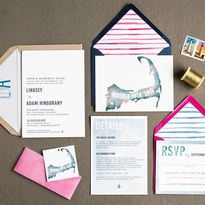 Brides.com: . Custom watercolor wedding invitation suite, price available upon request, Swiss Cottage Designs