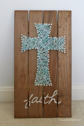 DIY String Art Projects - Nail And String Cross Art - Cool, Fun and Easy Letters, Patterns and Wall Art Tutorials for String Art - How to Make Names, Words, Hearts and State Art for Room Decor and DIY Gifts - fun Crafts and DIY Ideas for Teens and Adults http://diyprojectsforteens.com/diy-string-art-projects