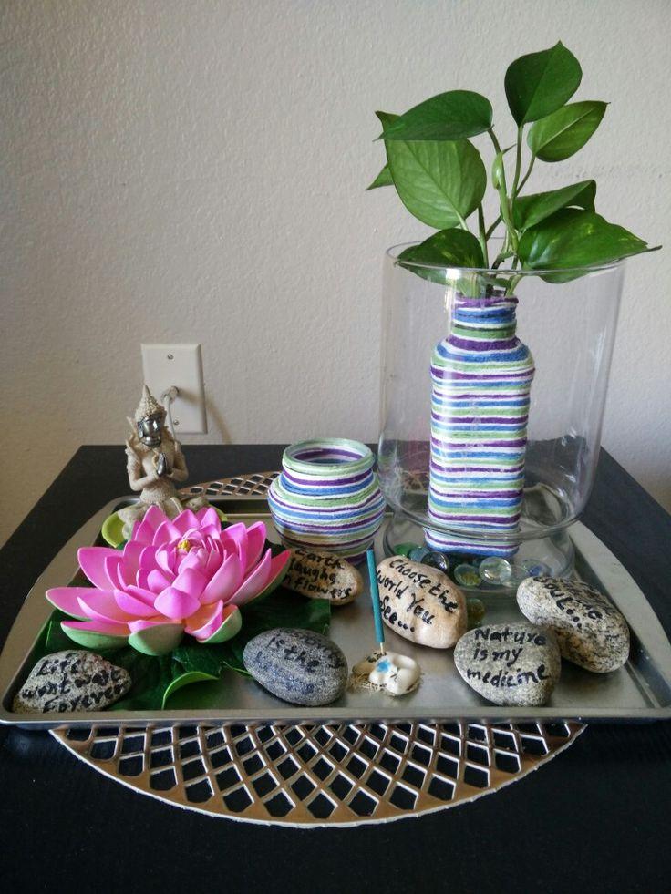 Did wool work to make vase n candel holder