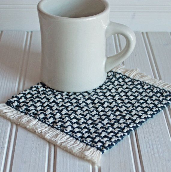 Handwoven mug rug / coaster set in navy blue. Handmade by Nutfield Weaver.