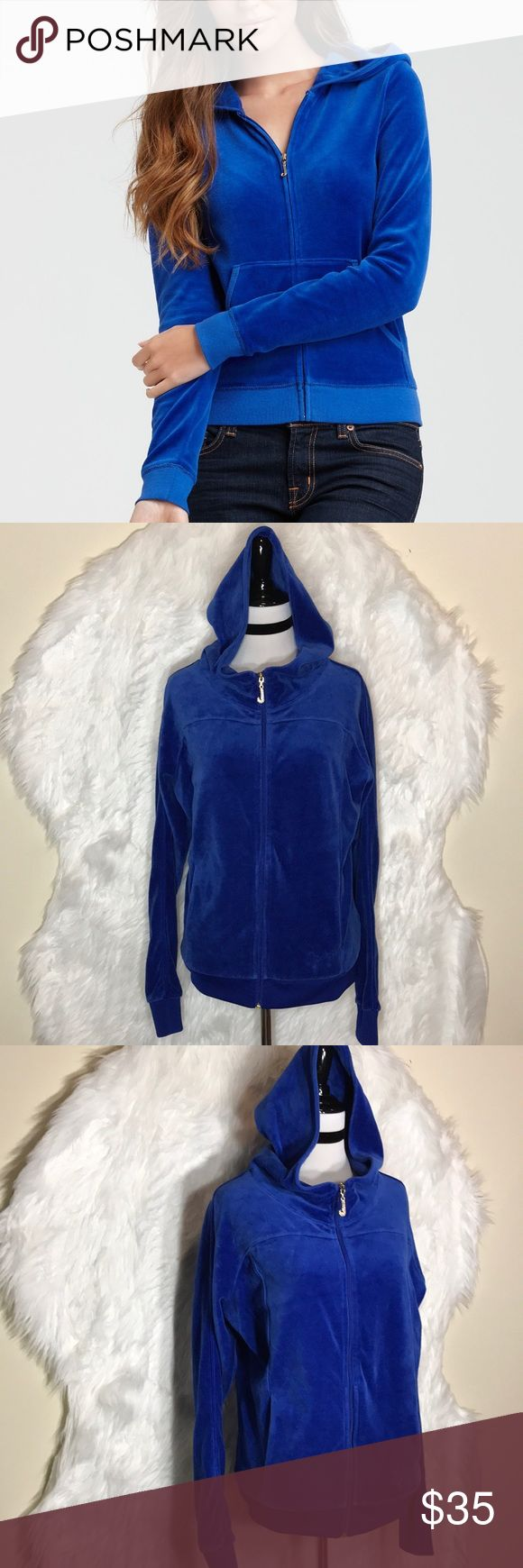 """Juicy Couture Royal Blue Velour Sweatshirt Juicy Couture royal blue velour Sweatsuit. Gold/ Crystal embellishments are included as pictured! Hidden pockets inside & out. Laid flat across @ bust: 21"""", length: 24"""". NWOT Juicy Couture Jackets & Coats"""