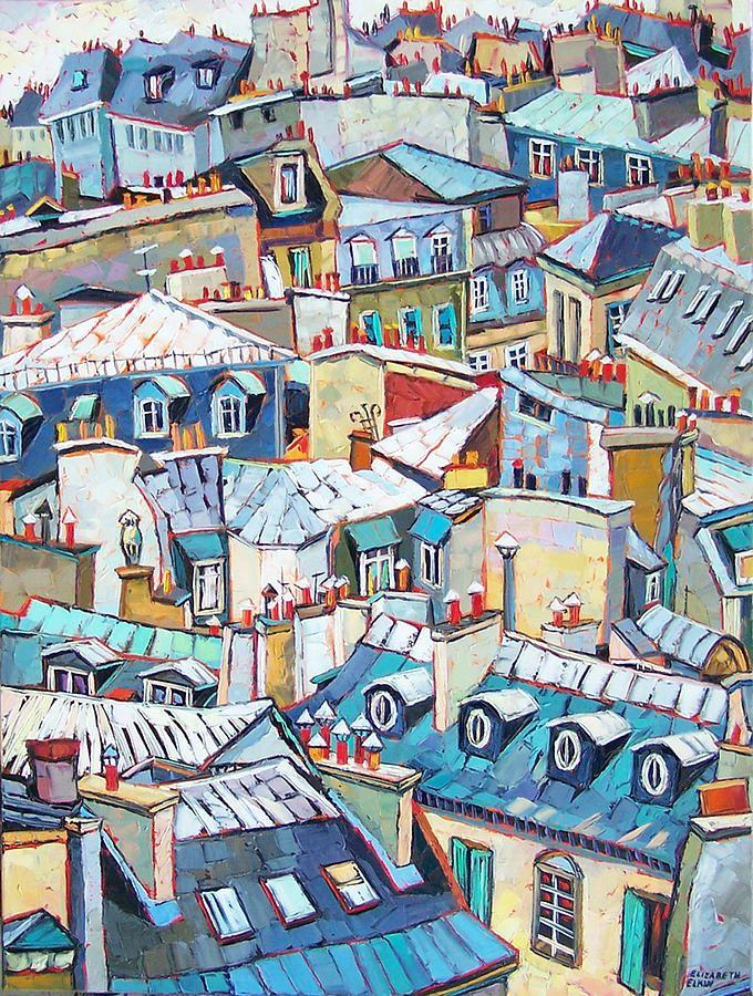 Paris Rooftops Painting - Paris Rooftops Fine Art Print