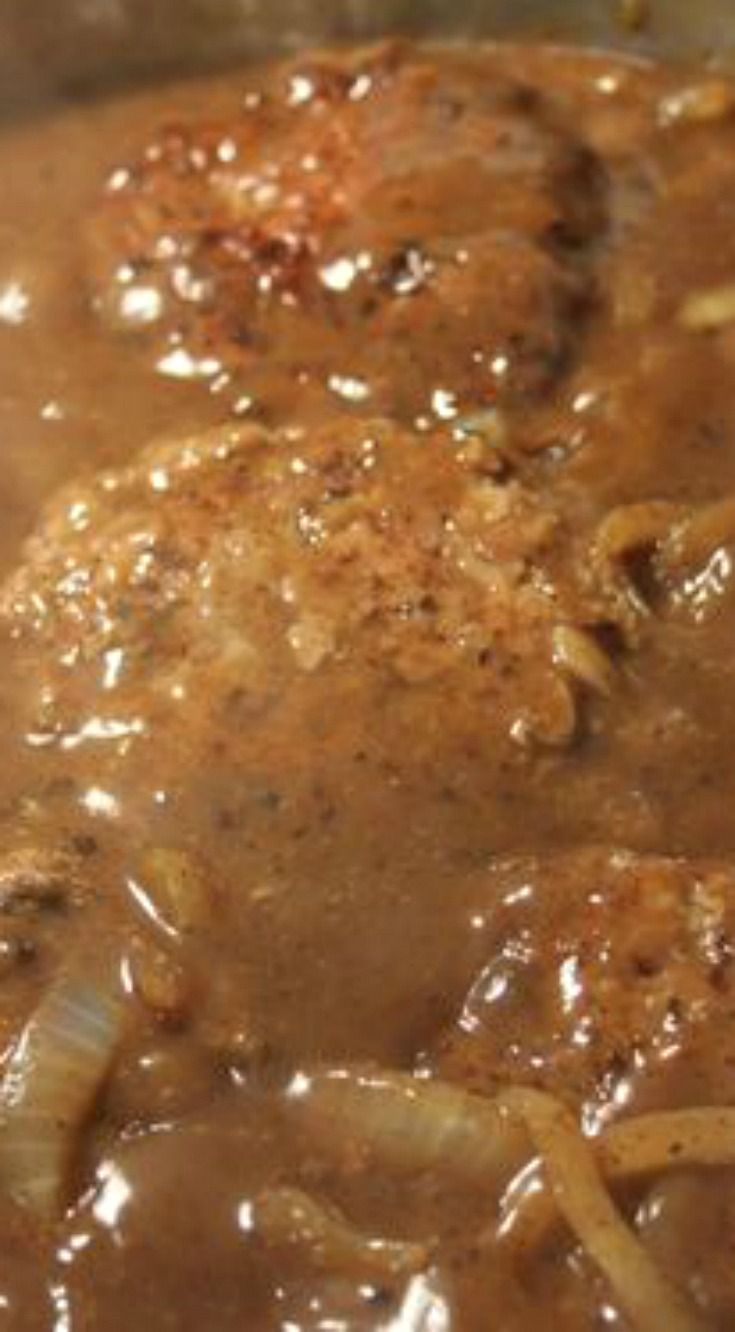 Hamburger Steak with Creamy Onion Gravy ~ A diner classic and a southern favorite... Seasoned ground beef patties are cooked with caramelized onion and gravy for a real belly-pleaser
