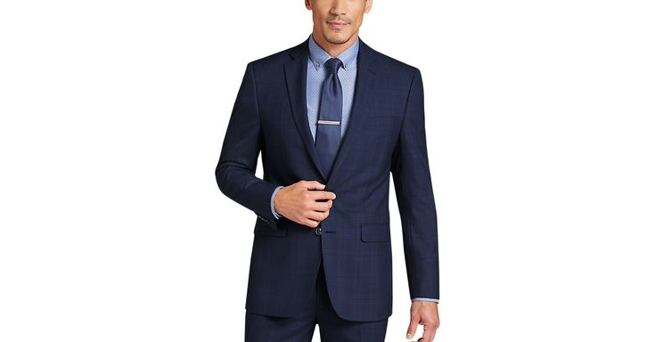 Check this out! Calvin Klein Navy Plaid Extreme Slim Fit Suit - Men's The New Blue Suit from MensWearhouse. #MensWearhouse