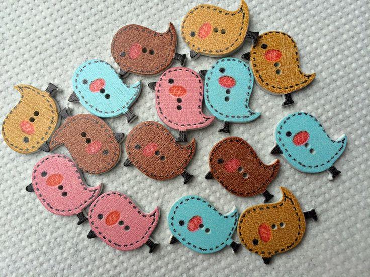 Wooden Bird Buttons 26mm - 12 buttons from beadzandbuttons & co by DaWanda.com