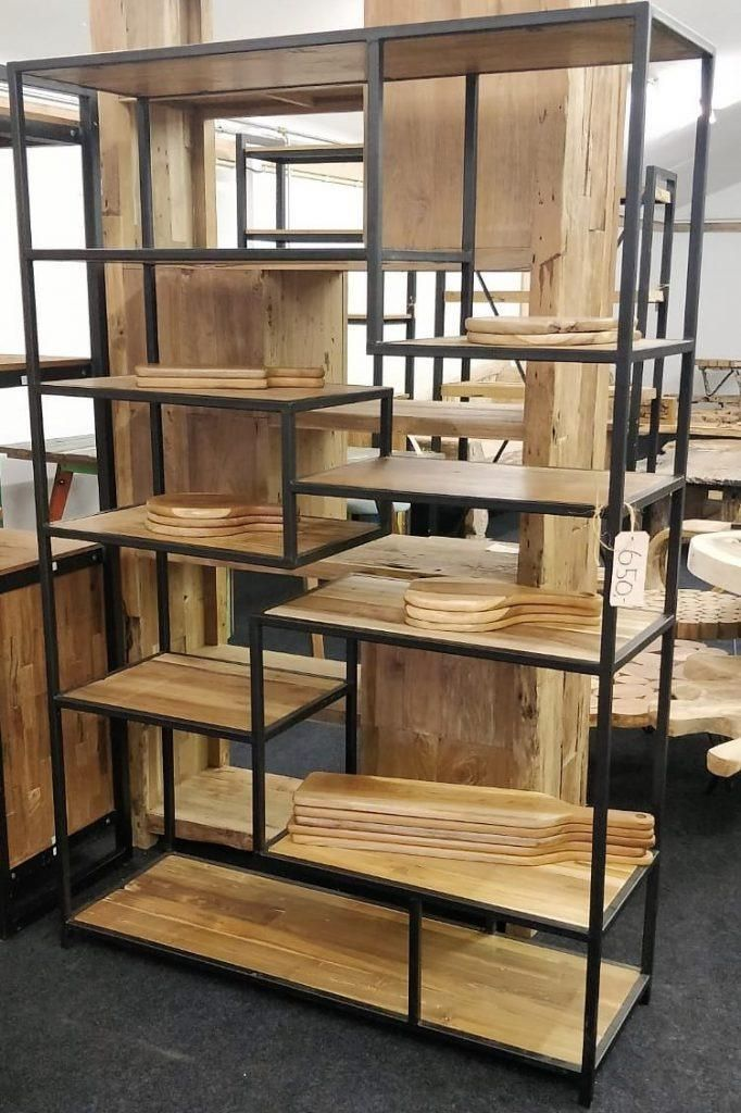 Stalen Frame Voor Kast.Boekenkast Teak Met Stalen Frame Kasten Boekenkasten