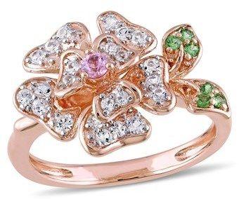 Laura Ashley White Sapphire & Pink Sapphire Tsavorite Flower Ring.