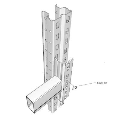 Premierack pallet racking upright with box beam and connector showing location of safety pin insertion graphical drawing 395x395