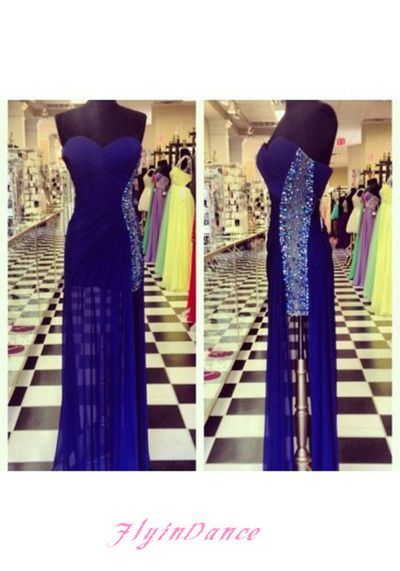 Royal Blue Prom Dresses 2016 New Fashions A Line Sweetheart Neckline Chiffon Evening Dress Long Party Gown For Teens