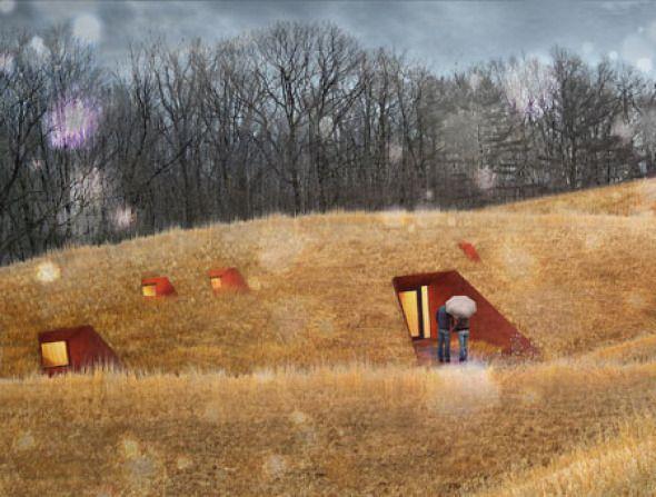 """La retenida pradera sobre la cascada de Frank Lloyd Wright es el sitio para las 6 nuevas casas de campo que realizó Patkau Architects. La pradera, que es un fragmento de un """"reciente"""" paisaje cultural, provee una experiencia complementaria para el nativo bosque que rodea que se aprecia y entiende ambas cultura histórica y ecología nativa. Se abre un claro en el bosque que establece la posibilidad de una relación sustentable entre la ocupación humana, el sitio y el sol."""