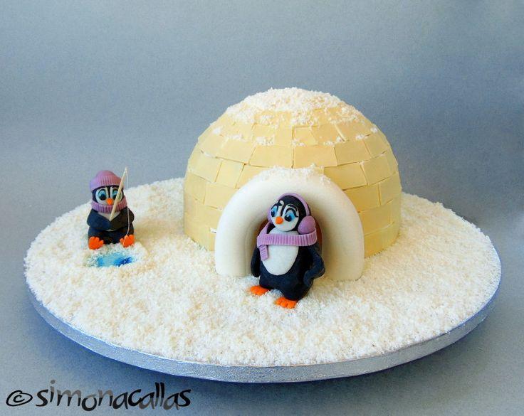 Igloo&Penguins Winter Cake by simonacallas