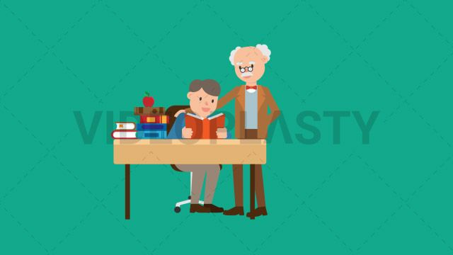 An older professor with gray hair wearing a brown suit is teaching a student and pats him on the pack while the student is sitting at a desk reading from a book Two versions are included: normal (with a start animation) and loopable. The normal version can be extended with the loopable version Clip Length:10 seconds Loopable: Yes Alpha Channel: Yes Resolution:FullHD Format: Quicktime MOV