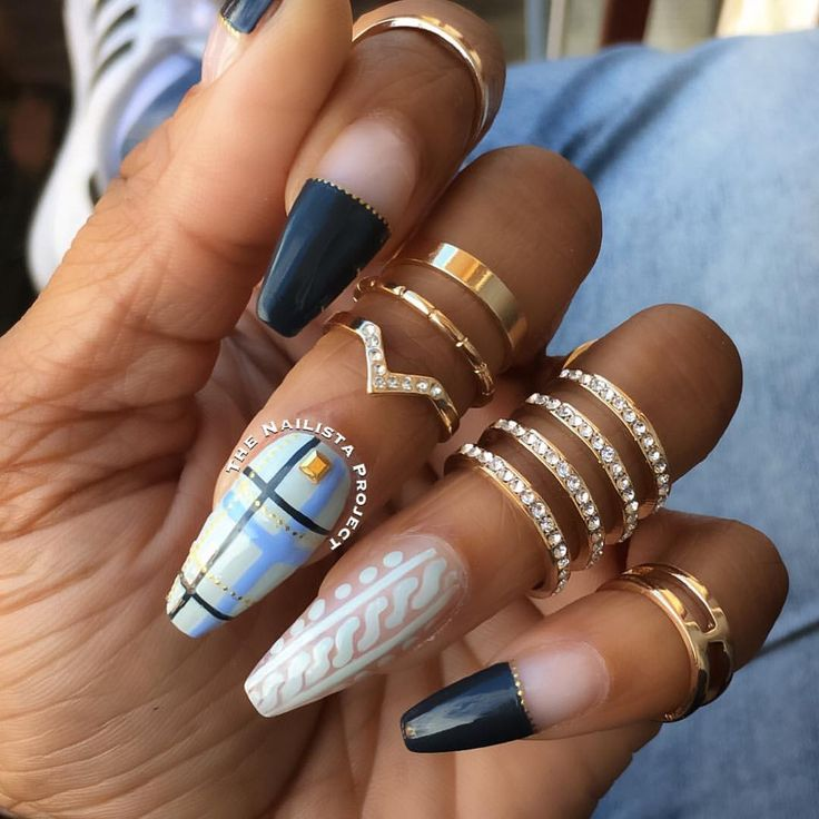 "619 Likes, 10 Comments - Avia Marcia Paul (Marcy) (@thenailistaproject) on Instagram: ""Negative space sweater and plaid nail swag feat #flossgloss 'Faded', 'Moon Baby"", and '95% Angel'…"""
