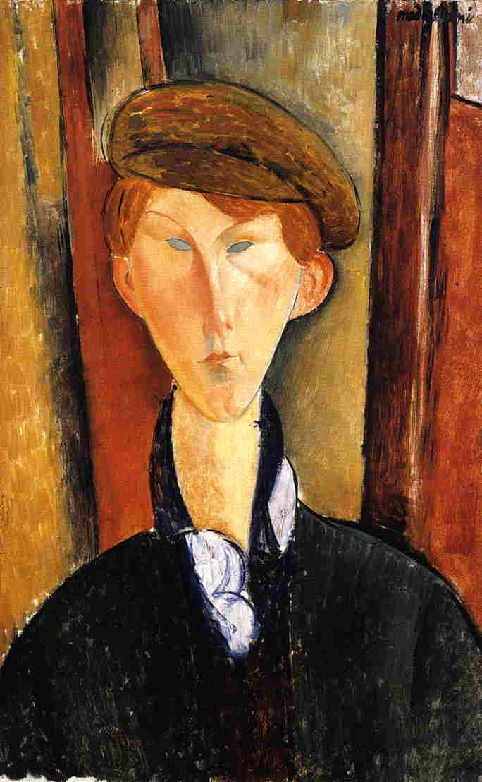 Amedeo Modigliani. Hombre joven con gorra, 1919. óleo sobre lienzo. Guggenheim Museum, NY. WikiPaintings.org - the encyclopedia of painting
