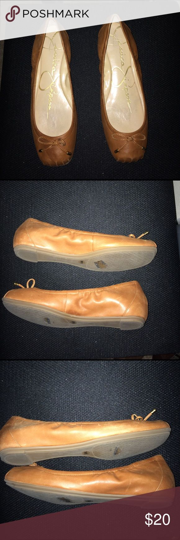 Shoes Jessica Simpson Tam Leather Ballerina shoes. Im Good worn condition.  Soft leather show variation within the texture of the leather. Only worn twice. Jessica Simpson Shoes Flats & Loafers