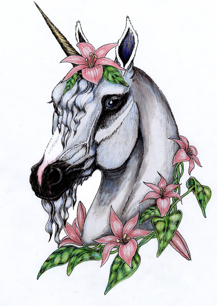 Flowered unicorn in color by spottedpegasus on deviantart for Unicorn horn tattoo