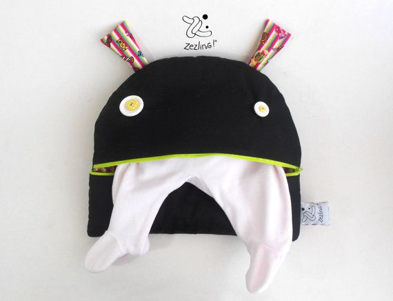 Portable Diaper changing Bag | Zé Nappie-glutton funny zippered nappy clutch | Unisex diaper accessory | baby clothes organizer | Black neon