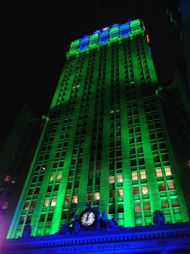 seahawks colors | ... complex is shown illuminated in seattle seahawks colors in new york