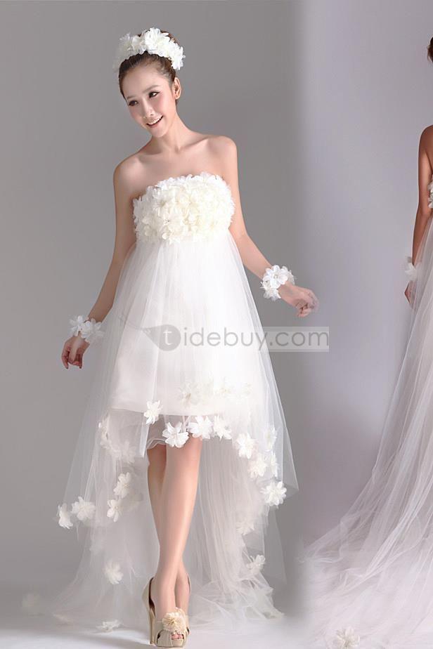 魅力的な花柄不対称 Aラインストラップレスビーチウェディングドレス