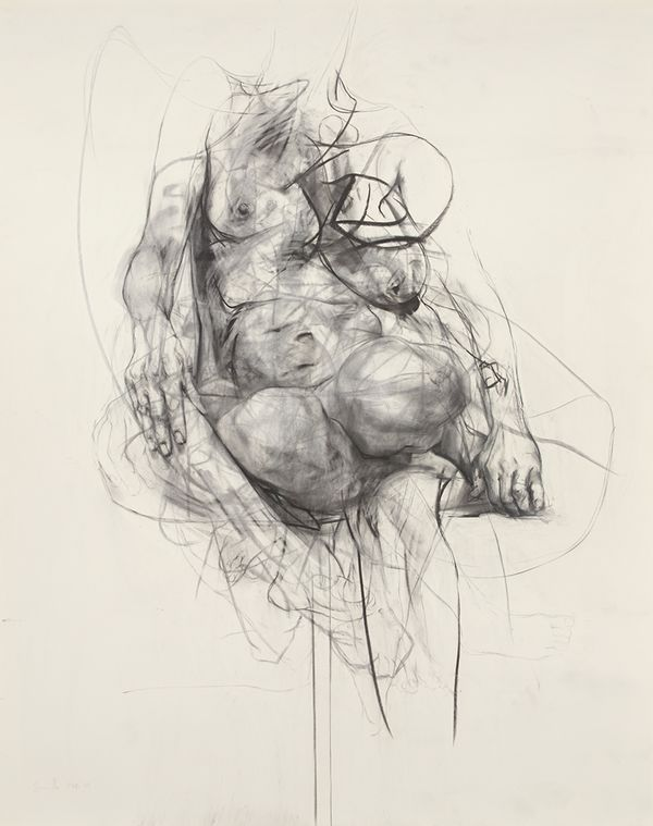 Muse on Stool (study) 2015.Charcoal on watercolour paper © Jenny Saville. courtesy Gagosian Gallery. Collection of the arti