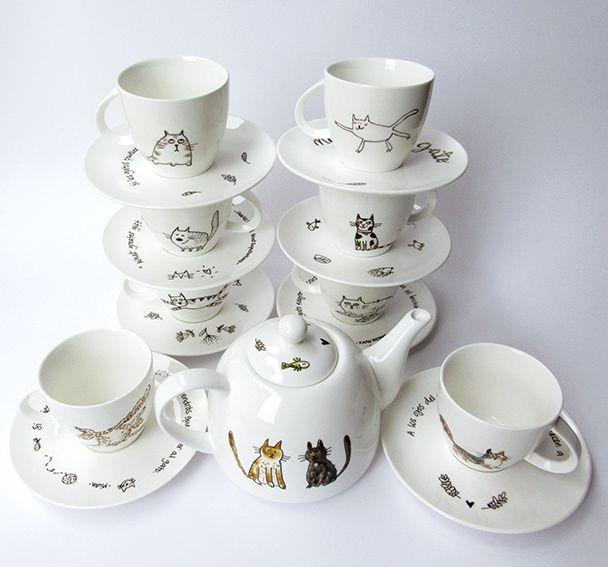 Coffee set · Juego de café · Illustration on porcelain · Ilustración sobre porcelana · Dibujado a mano · Hand-drawn www.cayagutierrez.com
