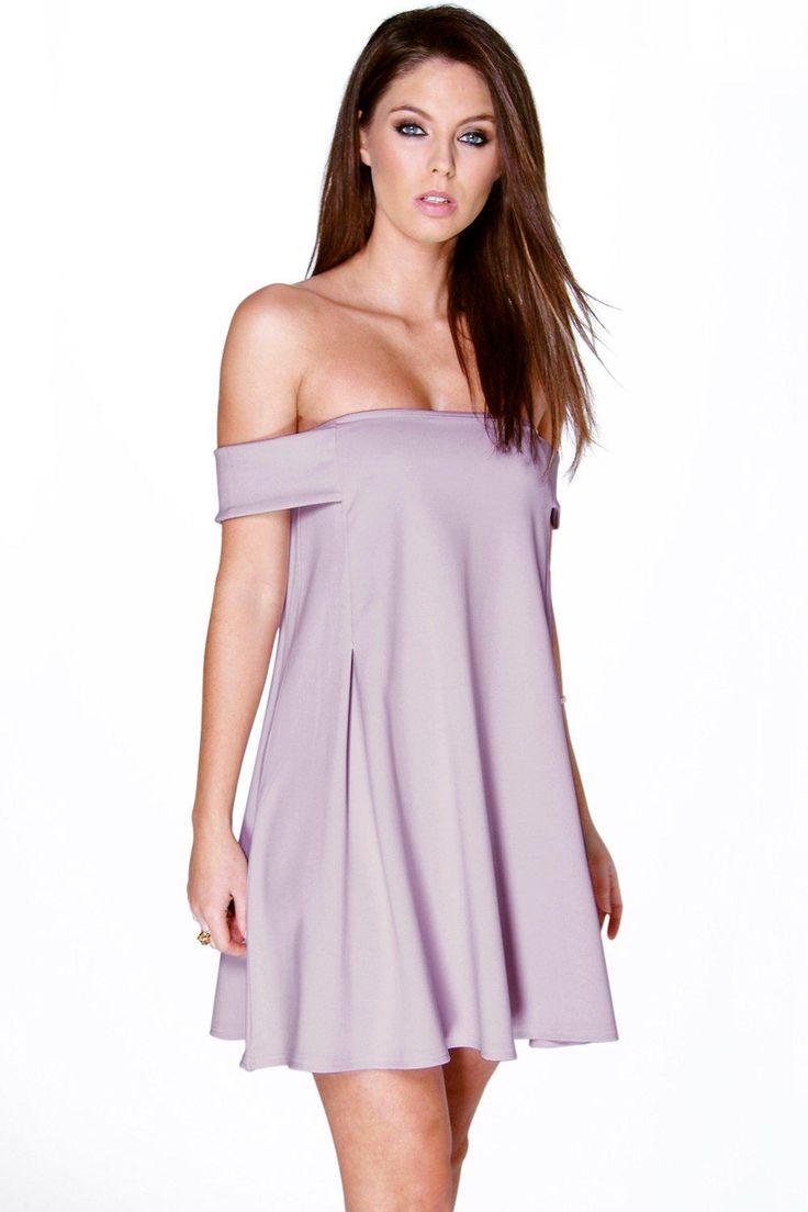 Ingrid Off The Shoulder Detail Swing Dress