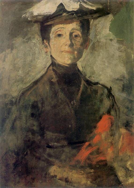 Olga Boznańska, Autoportret z kwiatami Ok. 1909. Olej na płótnie. 68 x 49 cm. Muzeum Narodowe w Krakowie.