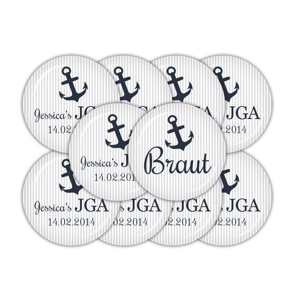 10er Set 38mm Buttons ♥ 1 Braut & 9 JGA (04-01T4) von lijelove auf DaWanda.com