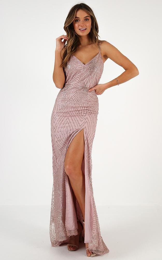 109e9a36f4e Shine Bright Dress In Rose Gold Produced By SHOWPO