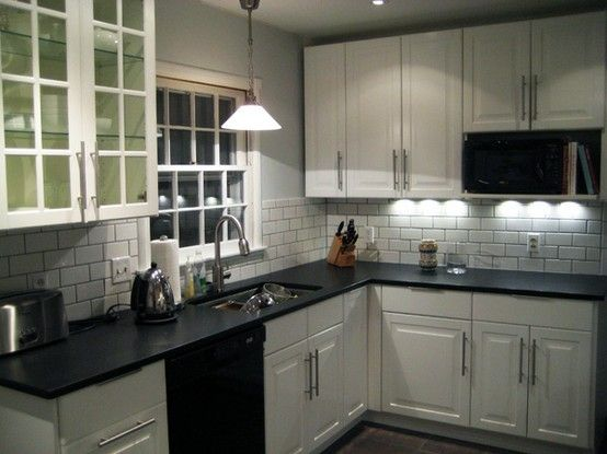 White Subway Tile With Gray Counter   Google Search