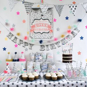 Ooh la la--love this unique and modern black and white circus theme for a well designed party!