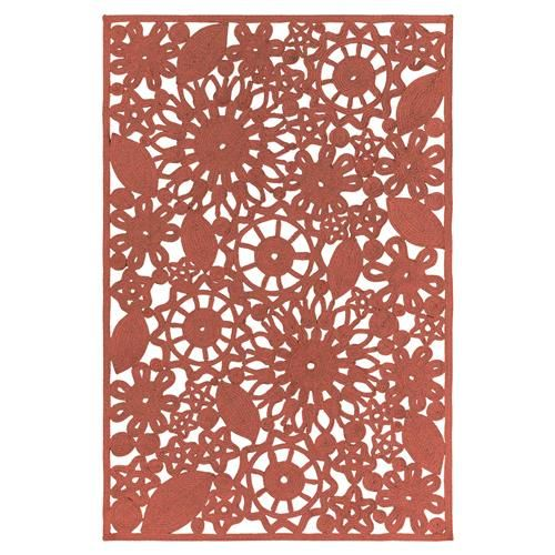Lorelai Modern Red Floral Cut Out Outdoor Rug - 4'x6'   Kathy Kuo Home