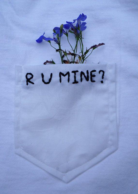 R U Mine Embroidered Pocket Tee by MadeByLaney on Etsy